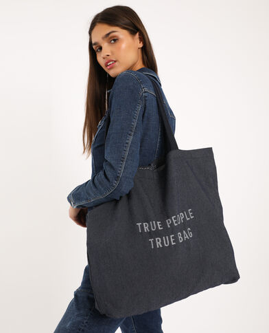 Grand tote bag 100% recyclé bleu - Pimkie