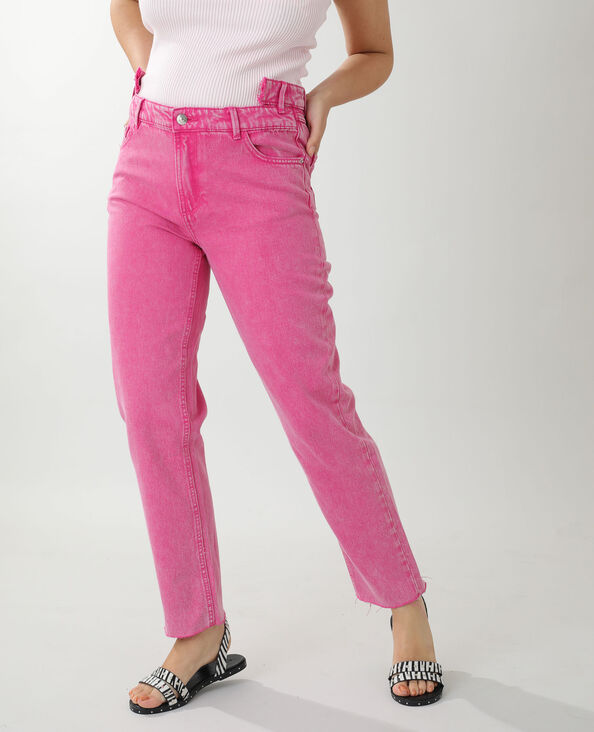 Jean straight high waist rose - Pimkie