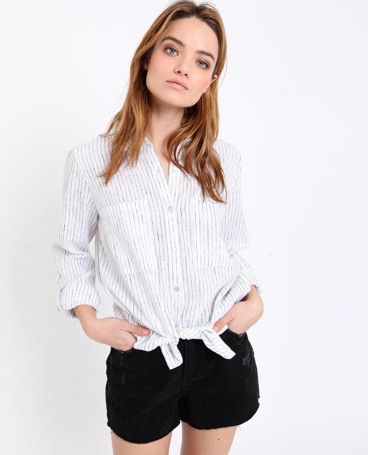 Chemise à rayures blanc cassé
