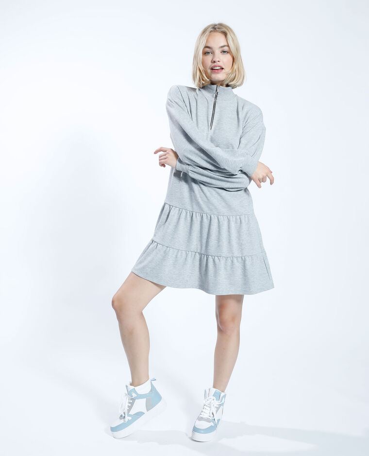 Robe sweat à volants gris - Pimkie