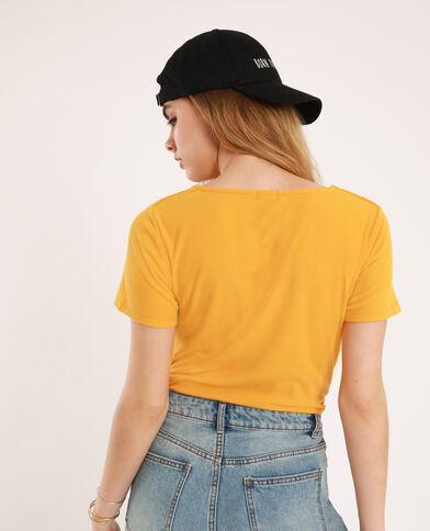 T-shirt décolleté V jaune
