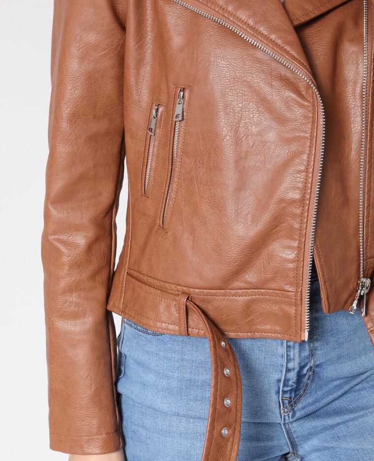 Veste perfecto faux cuir caramel 323285721A0E | Pimkie
