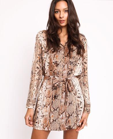 Robe chemise python brun