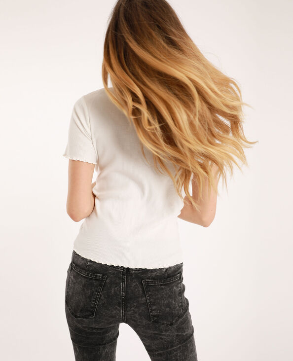 T-shirt à perles blanc cassé