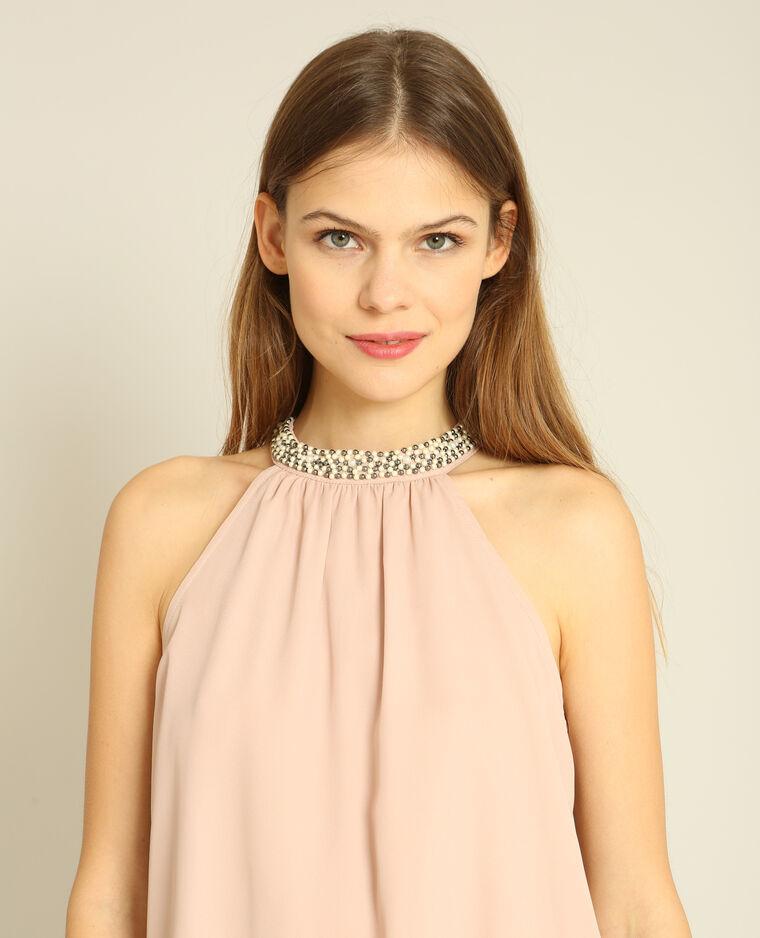 Top col bijoux rose