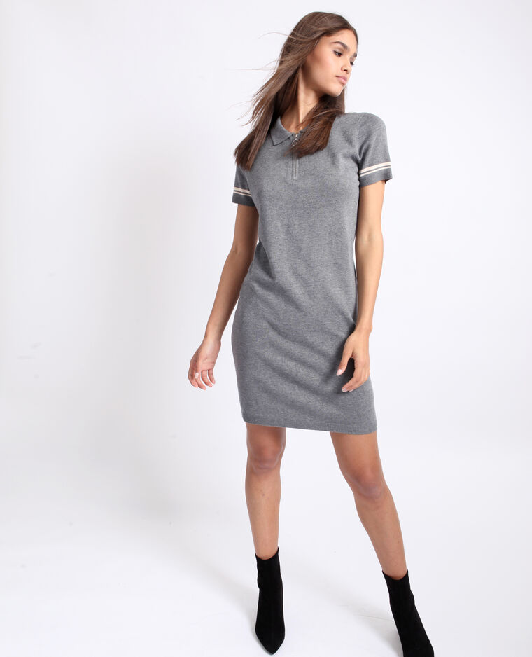 Robe col polo gris chiné