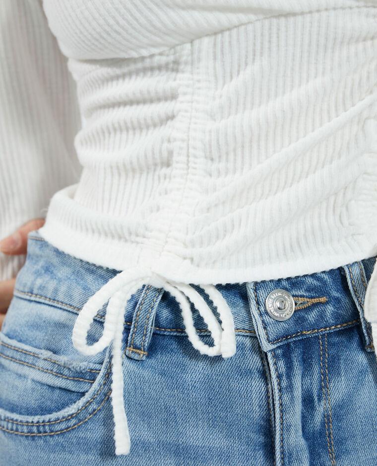 T-shirt côtelé à nouer toucher doux blanc - Pimkie