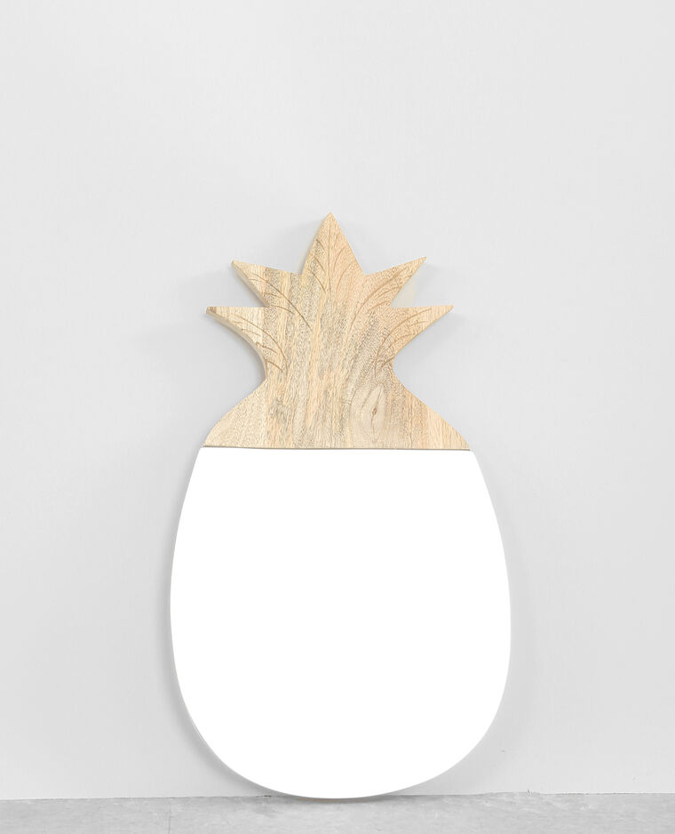 Miroir ananas bois beige taupe