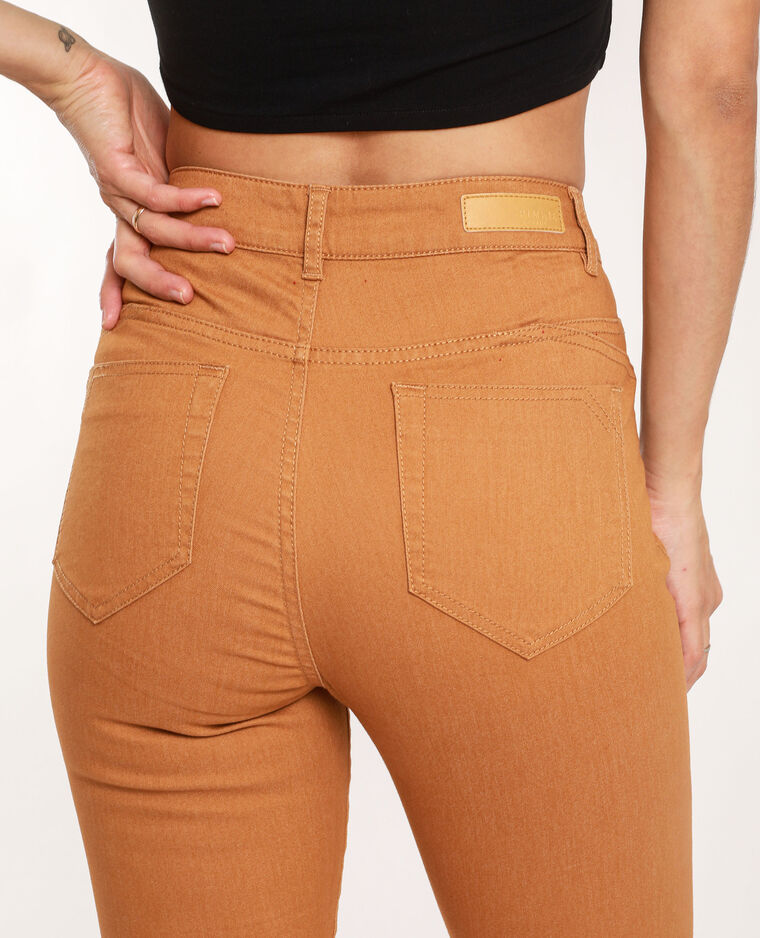 Skinny push up mid waist marron