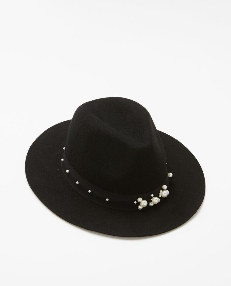 Fedora à perles noir