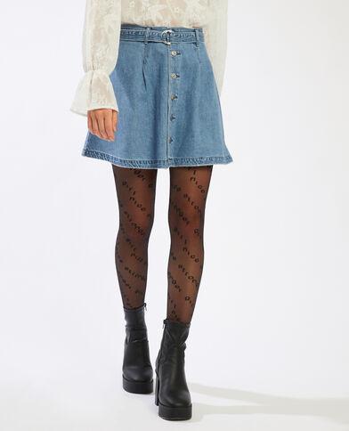 Jupe trapèze en jean bleu clair - Pimkie