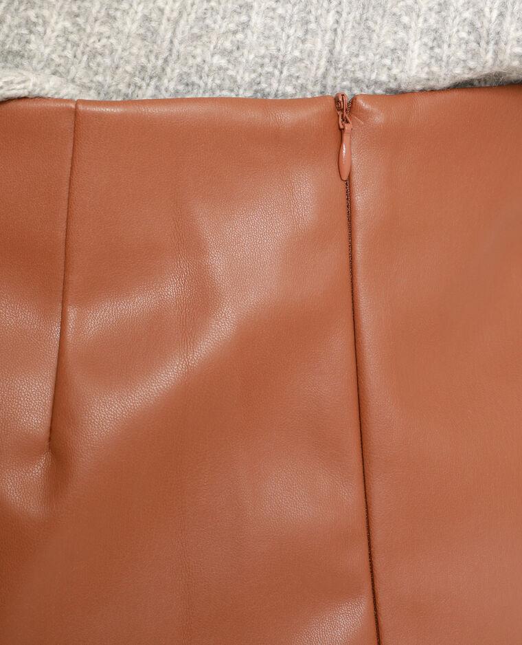 Jupe en faux cuir marron