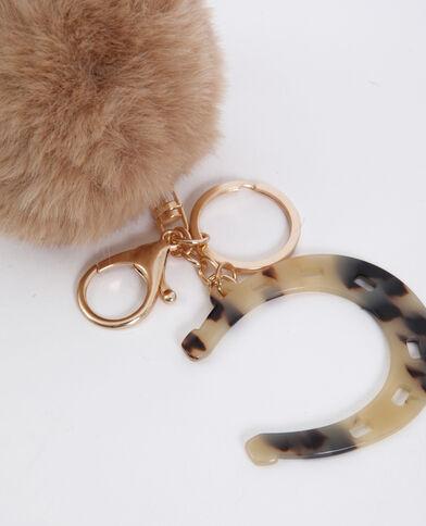 Porte-clés pompon marron