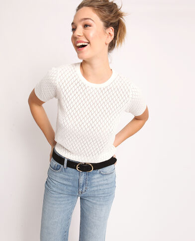 cee3dec196b6 T-shirt ajouré blanc