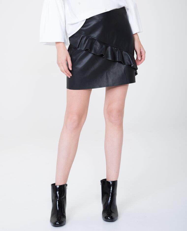 Mini jupe en simili cuir volantée noir