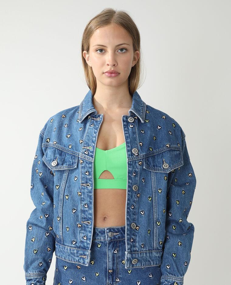 Veste en jean cœurs bleu denim - Pimkie