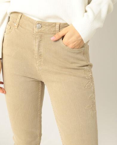 Pantalon skinny brodé beige