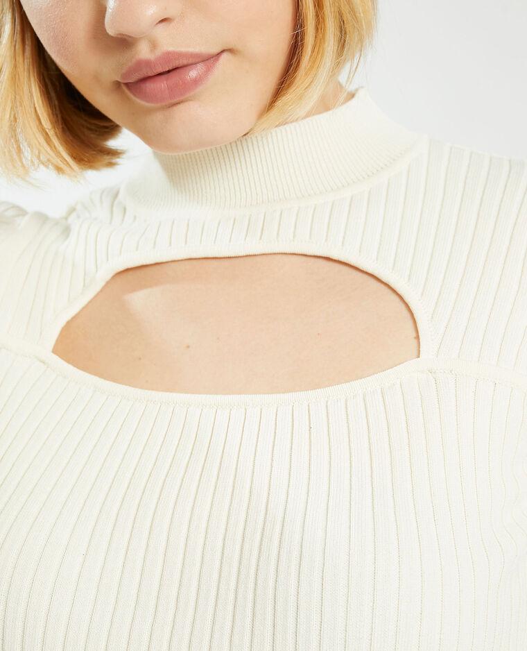 T-shirt côtelé avec découpe blanc - Pimkie