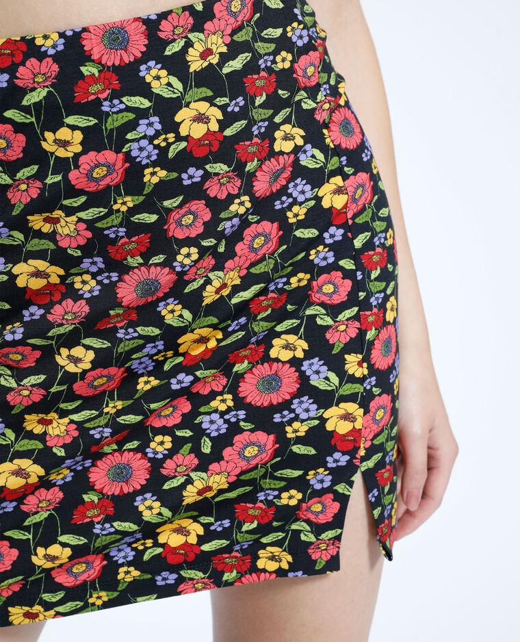 Jupe courte fleurie noir - Pimkie