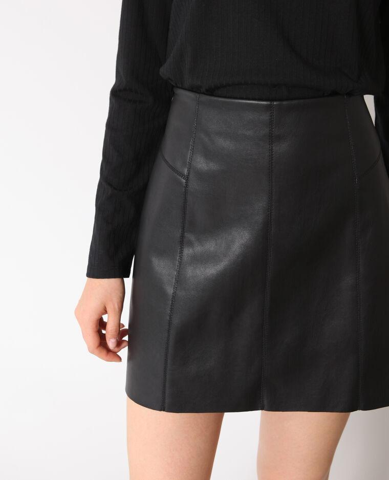 Jupe en faux cuir noir - Pimkie