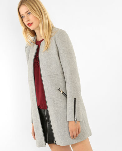 Manteau mi-long zippé gris chiné - Pimkie