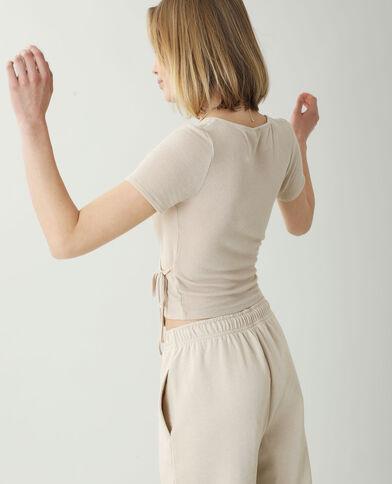 Top côtelé cache-cœur beige - Pimkie