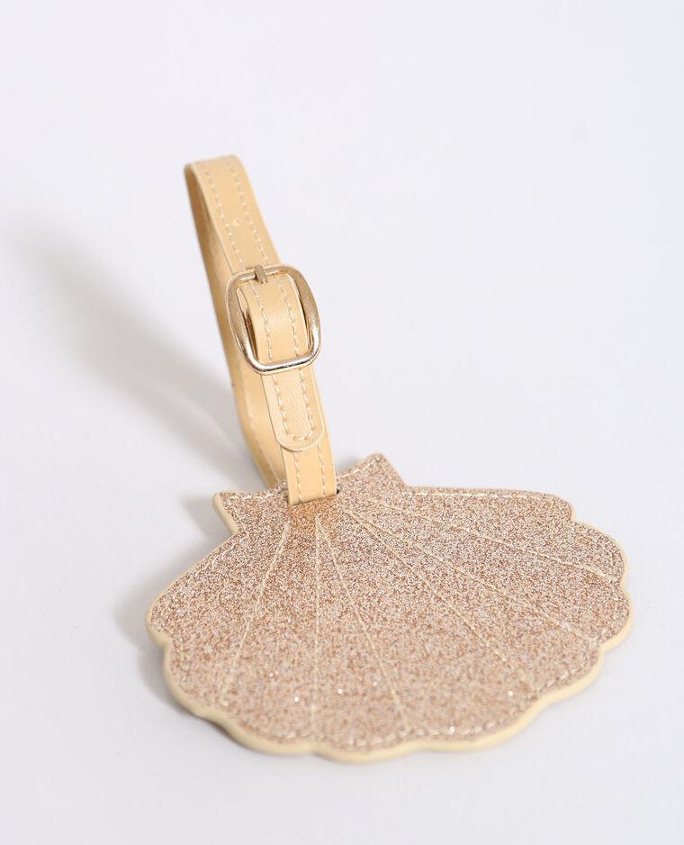 Etiquette pour bagage coquillage doré