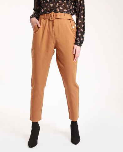 Pantalon carotte camel