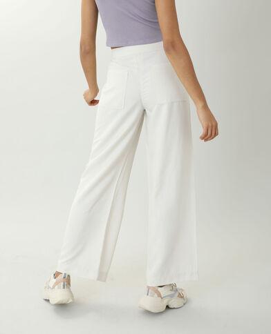 Pantalon wide leg satiné beige ficelle