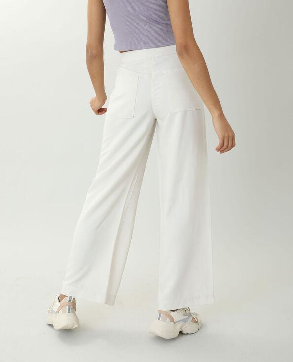 Pantalon wide leg satiné beige ficelle - Pimkie