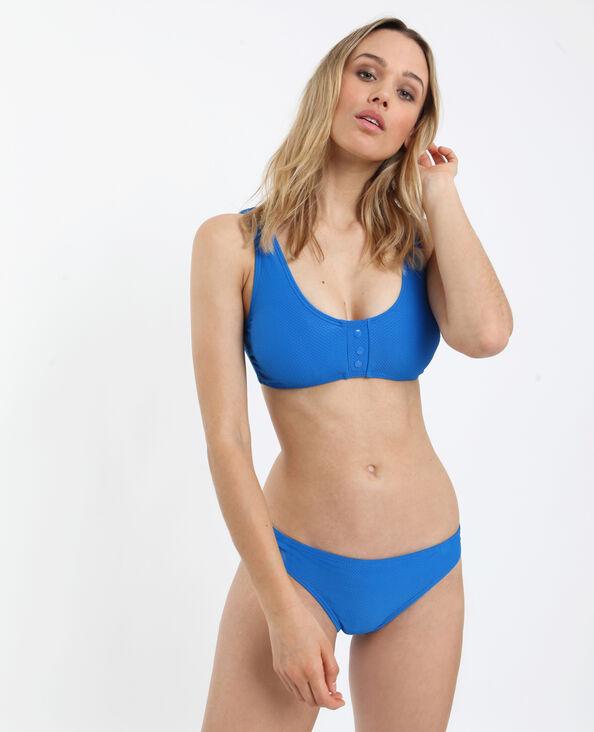 Haut de bikini gaufré bleu