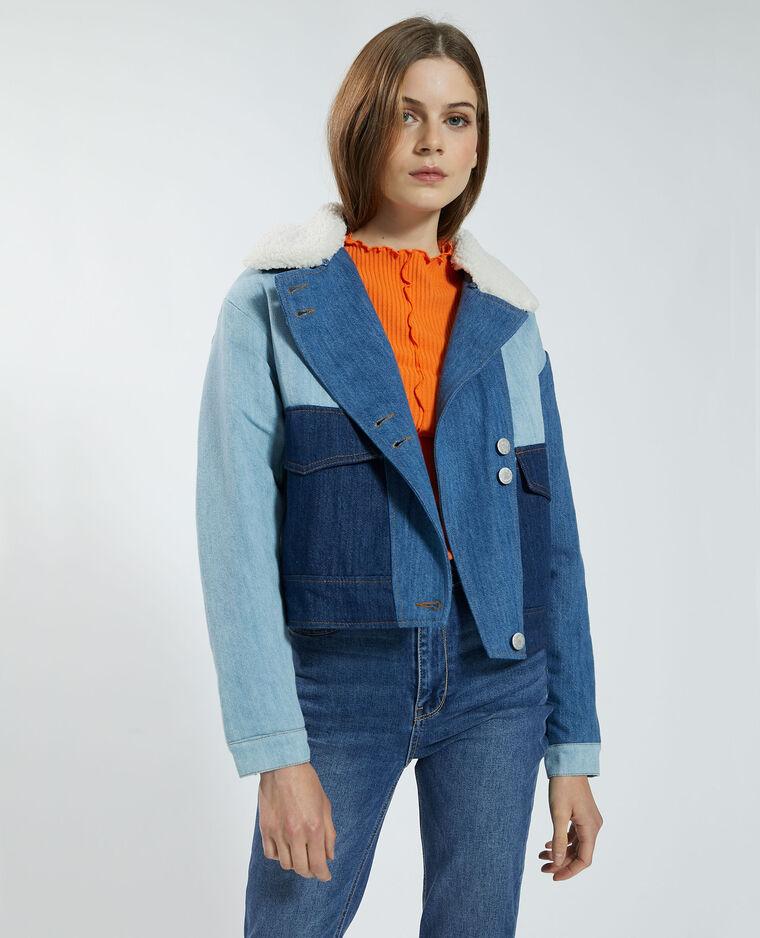 Veste tricolore en jean matelassée bleu - Pimkie