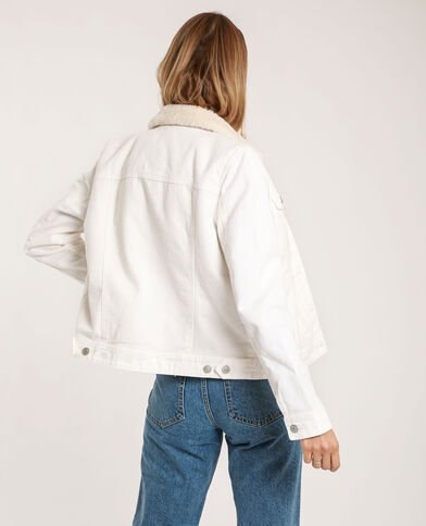 Veste en jean doublée écru