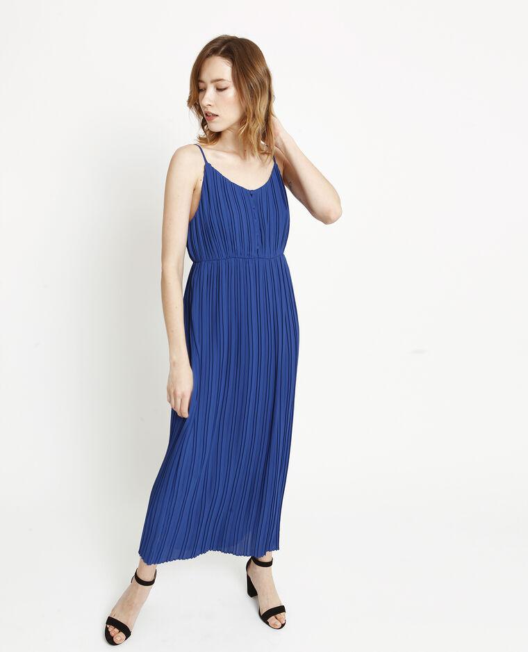 Robe longue plissée bleu brut