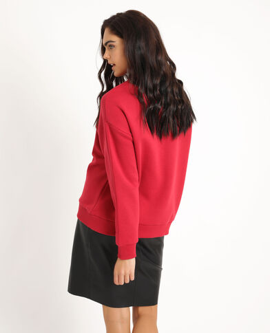 Sweat imprimé oversized rouge
