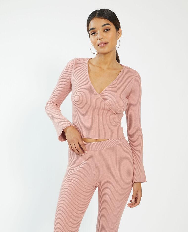 Gilet cache-cœur côtelé rose - Pimkie