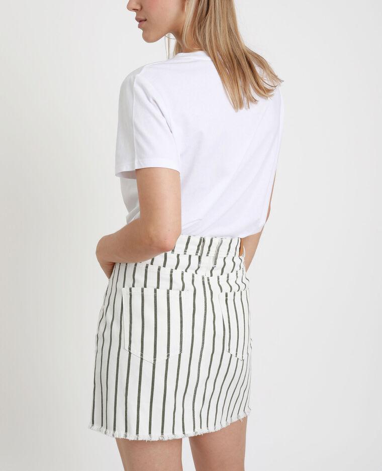 Jupe en jean rayée blanc