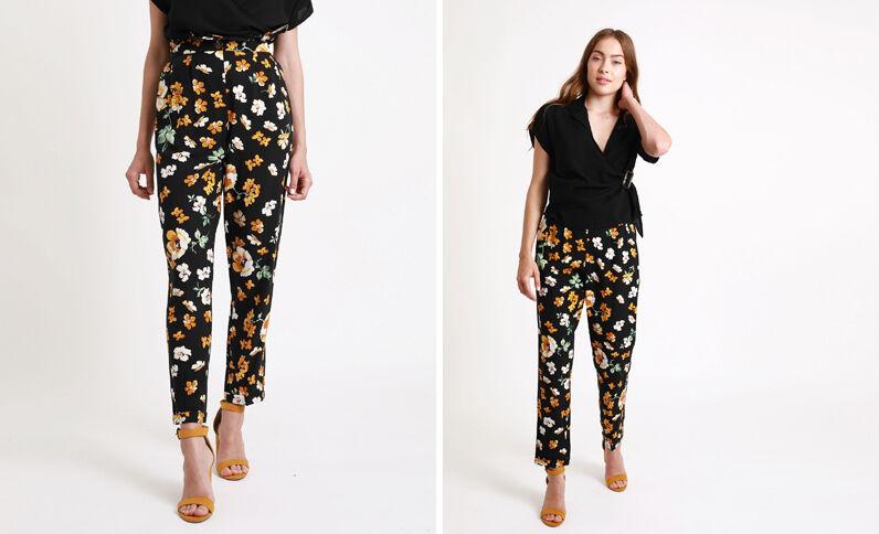 Pantalon à imprimé noir