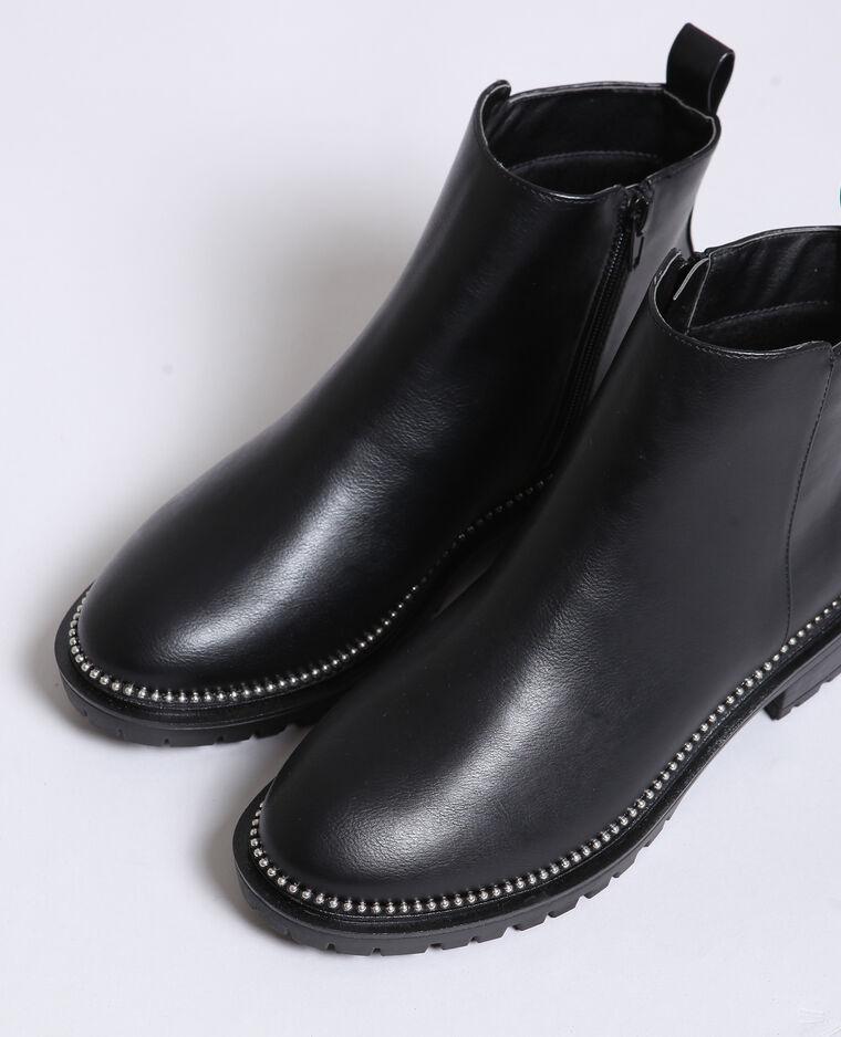 Bottines plates cloutées noir