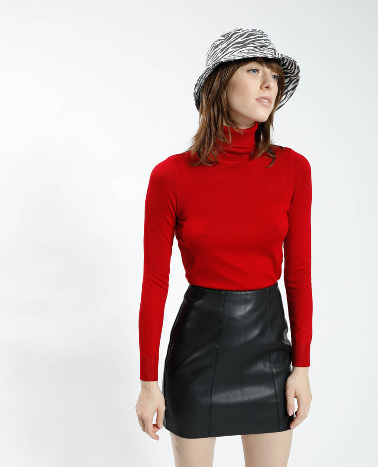 Pull fin col roulé rouge - Pimkie