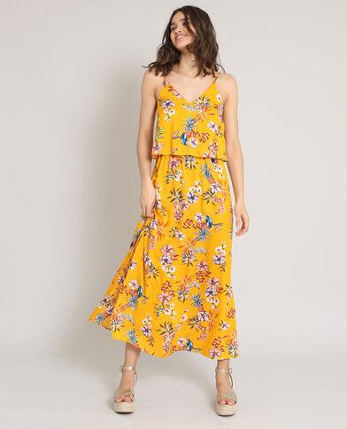 Robe longue à fleurs jaune