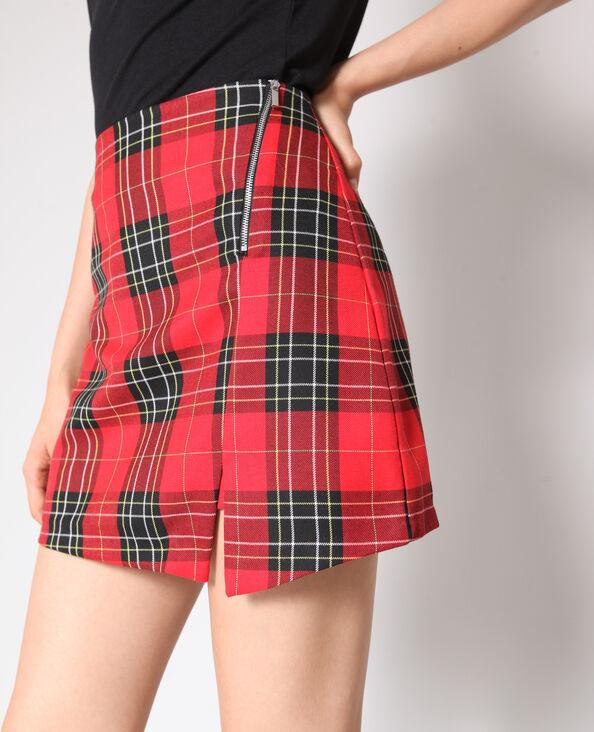 Jupe short à carreaux rouge