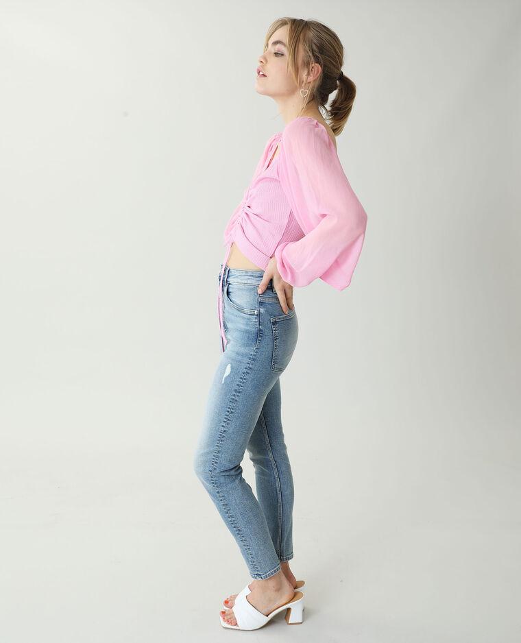 Top à manches transparentes rose - Pimkie