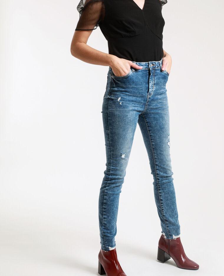 Jean skinny high waist délavé bleu denim