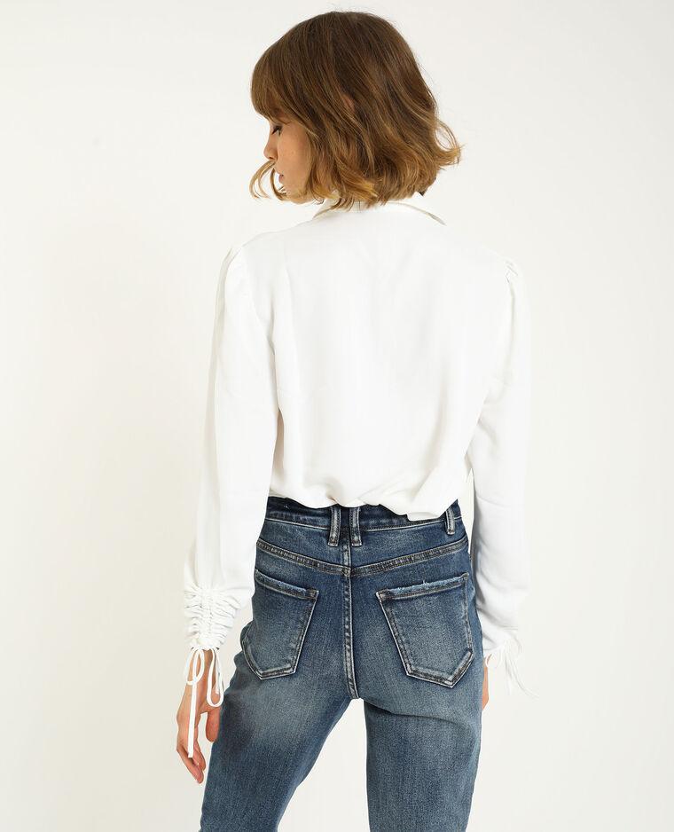 Chemise manches retroussables blanc cassé - Pimkie