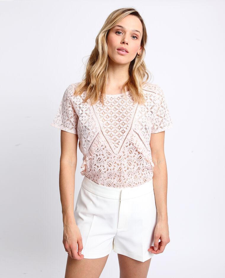 T-shirt en dentelle rose pâle