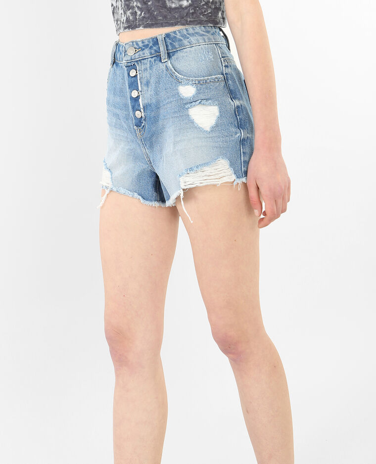 Short en jean destoy bleu délavé