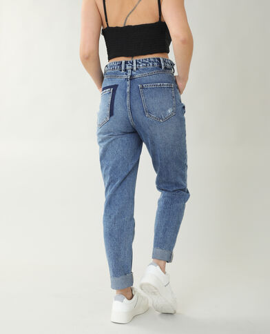 Jean straight high waist bleu brut