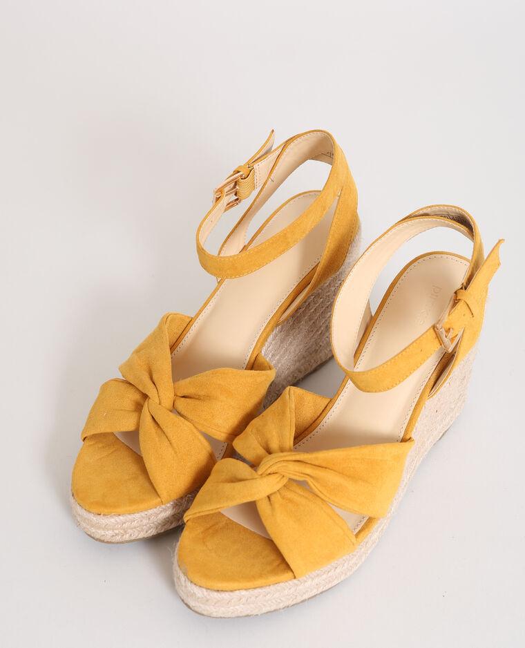 Sandales compensées en paille Orange