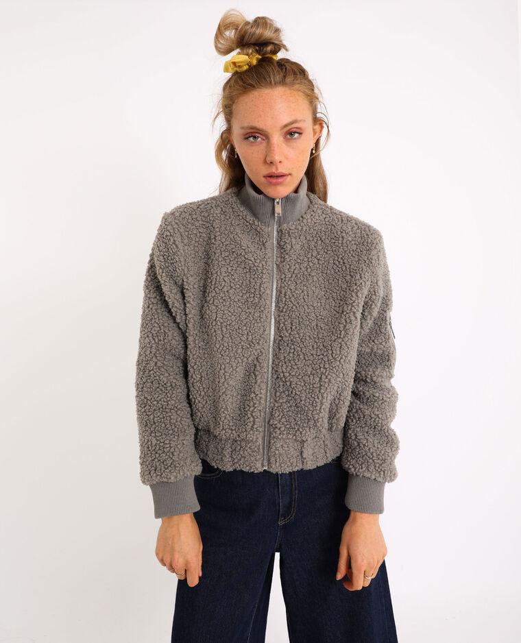 Blouson imitation mouton gris - Pimkie